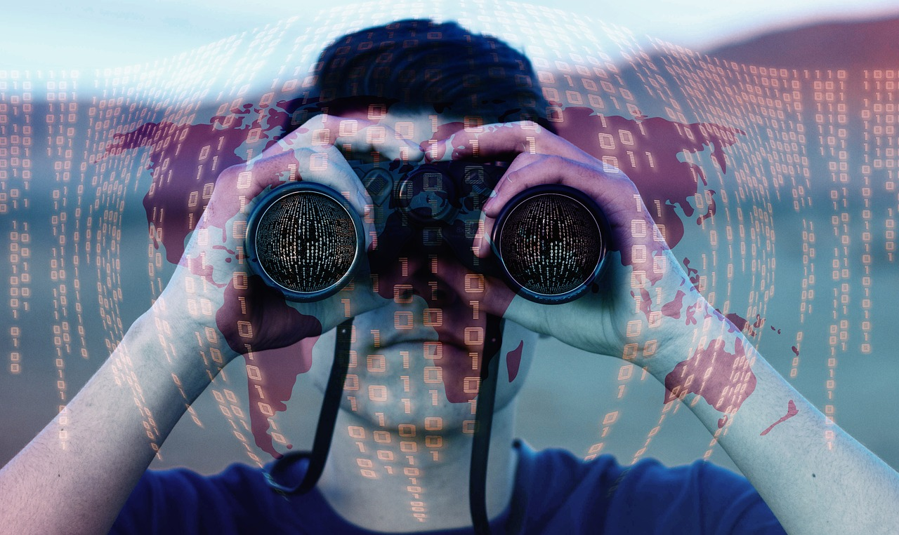 A man on the look out with binoculars, a binary code layered on top of the man's image